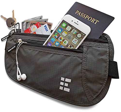 Zero Grid Money Belt w/RFID Blocking - Concealed Travel Wallet & Passport Holder (Belt Wallet For Men compare prices)