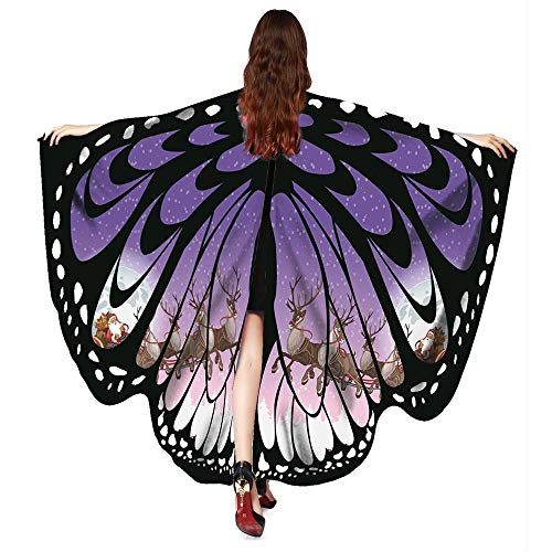 ASfairy Butterfly Wings Shawl Scarves, Women Cape Scarf Fairy Poncho Wrap Pixie Poncho Halloween Costume Accessory (Xmas-PP) -
