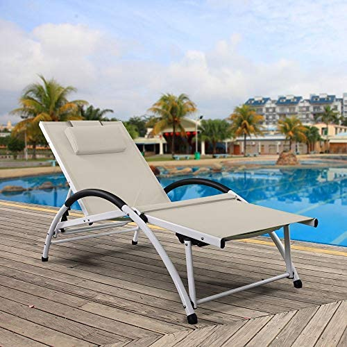 Ukeacn Patio Chaise Lounge Lawn Chair – High-Strength Aluminum Materials, Adjustable Reclining Folding Chairs with Pillow for Outdoor Indoor Home Garden Pool Beach, Weight Capacity 300 LB Beige