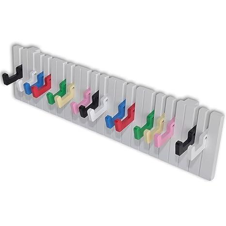 vidaXL 16 Ganchos Perchero de Pared Barra de Armario Forma de Teclado de Piano Colorido