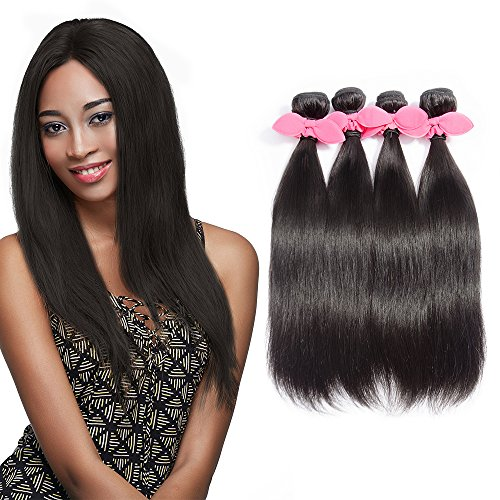 "Price comparison product image Rechoo 7A Grade Mixed Length Brazilian Remy Hair Extension Weave 4 Bundles 400g - Natural Black,20""22""24""26"",Silky Straight"