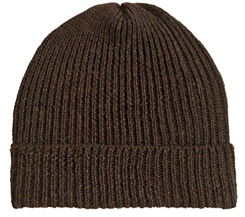 (Ribbed Stocking Cap - 100% Alpaca Wool - Traditional Fisherman Style Work Fashion Unisex Durable All Weather Hat (Brown Heather))