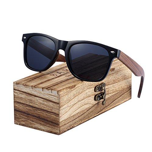 BARCUR Polarized Sunglasses Wood Handmade Walnut Temple PC Frame Spring Hinge Sun Glasses Men (Gray (Temple Pc)