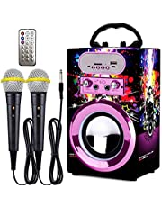 IndeCool Kids Bluetooth Karaoke Speaker with 2 Microphones, Wireless Remote Control Speaker Portable Karaoke Machine Music MP3 Player for Kids Adult Party Gift (Multicolored)