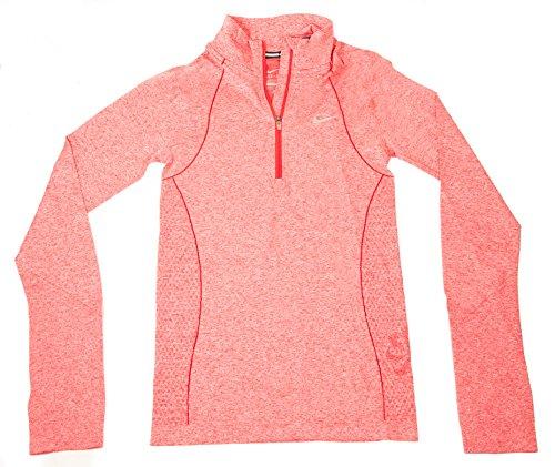 Nike Womens Dri-fit Knit Long Sleeve Half Zip Running Shirt Hyper Punch (Nike Dri Fit Knit Long Sleeve Half Zip)