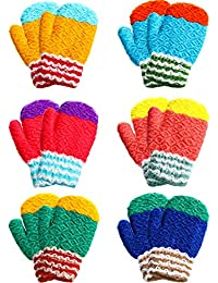 6 Pairs Kids Winter Knitted Mittens Cute Warm Mittens Gloves for Boys Girls