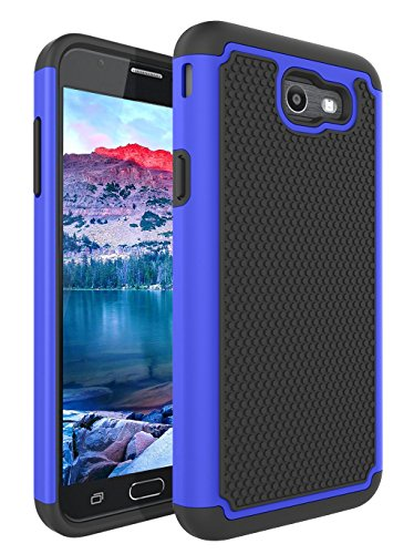 (For Samsung Galaxy J7 V / J7 2017 / J7 Prime / J7 Perx / J7 Sky Pro / Galaxy Halo Case, Asstar [Shock Absorption] Drop Protection Hybrid Armor Defender Dual Layer Protective Case Cover (Black+Blue))