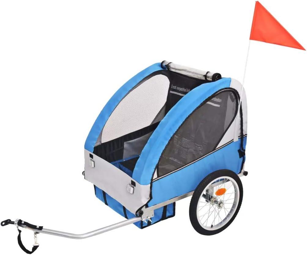 Remolque de bicicleta para niños gris y azul 30 kg,Es adecuado ...