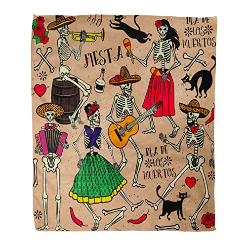 Emvency Throw Blanket Warm Cozy Print Flannel Red Dead with Skeletons Dia De Los Muertos The Dance Day Party Tattoo Music Comfortable Soft for Bed Sofa and Couch 60x80 Inches ()