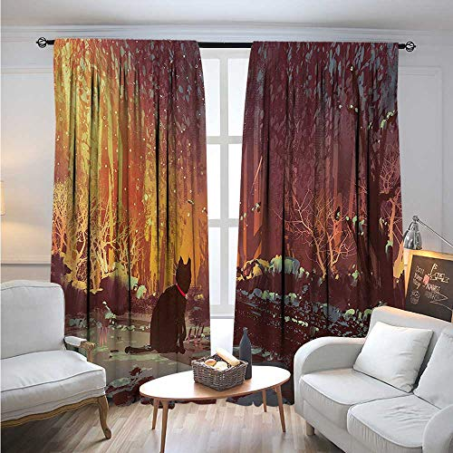 - FantasyBlackout DrapesSurreal Lost Black Cat Deep Dark in Forest with Mystic Picture Artwork PrintBlackout Curtains Room Darkening Thermal Insulated W96 x L96 Orange Brown