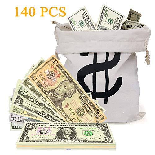 XDOWMO Prop Money Replica and Copy Play Money, and 1 Canvas Money Bag $1 $2 $5 $10 $20 $50 $100 Dollar Bills Double Sided Full Print Paper Money Movie Pranks(140PCS) (100 Dollar Replica Bills)