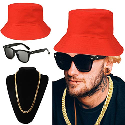 80s/90s Hip Hop Costume Kit - Cotton Bucket Hat,Gold Chain Beads,Oversized Rectangular Hip Hop Nerdy Lens Sunglasses (OneSize, Red) -