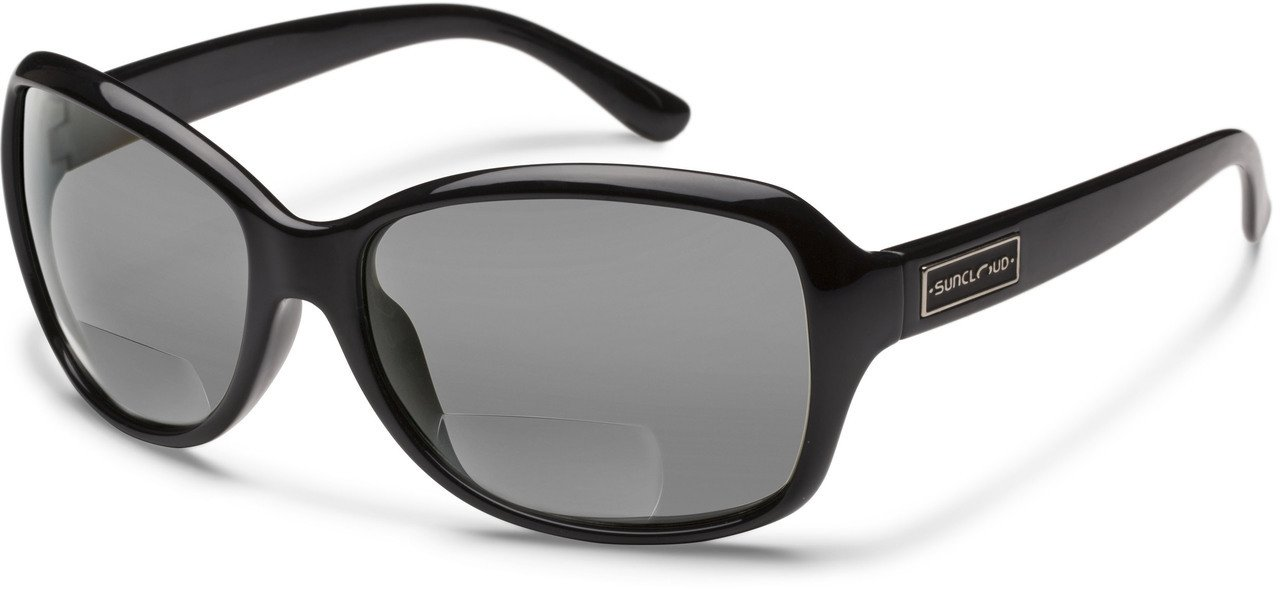 Suncloud Mosaic Polarized Bi-Focal Reading Sunglasses in Gloss Black & Grey Lens +2.25