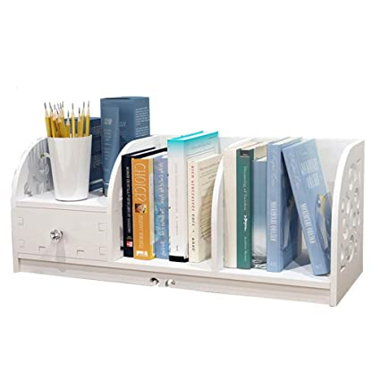 Bookcases Bookshelf Student Assembly Storage Rack Desktop Small White With Drawer Color