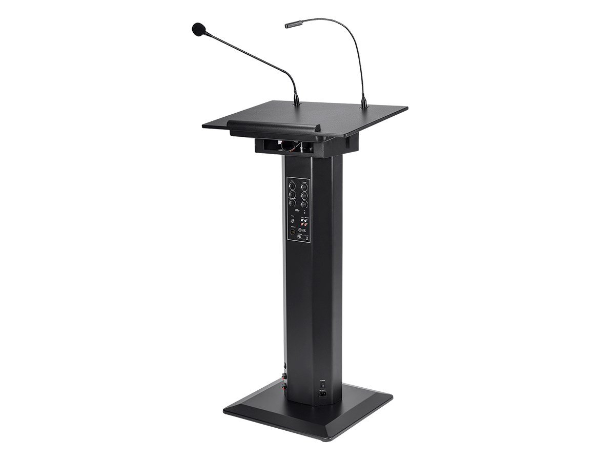 Monoprice Commercial Audio 60W Powered Lectern with Gooseneck Microphone and LED Light (No Logo) 118806