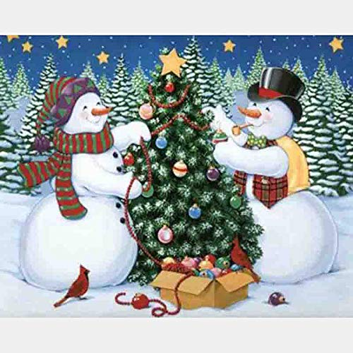 Diy 5D Diamond Painting Kits, Full Canvas Painting With Diamonds For Adults, Paint By Diamonds For Dream Home Decoration Art Craft 9.8X11.8 Inches, Christmas Tree Snowman(Frameless)