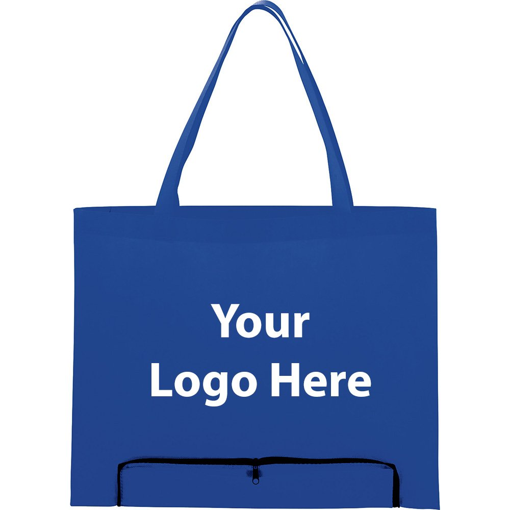 Compact Zipper Folding Tote - 200 Quantity - $1.95 Each - PROMOTIONAL PRODUCT / BULK / BRANDED with YOUR LOGO / CUSTOMIZED by Sunrise Identity