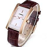 SINOBI Square Women Watches Wristwatch Business Casual Lady Designer Simple Rectangular Women Watches S8179L (rosegold case&brown band)