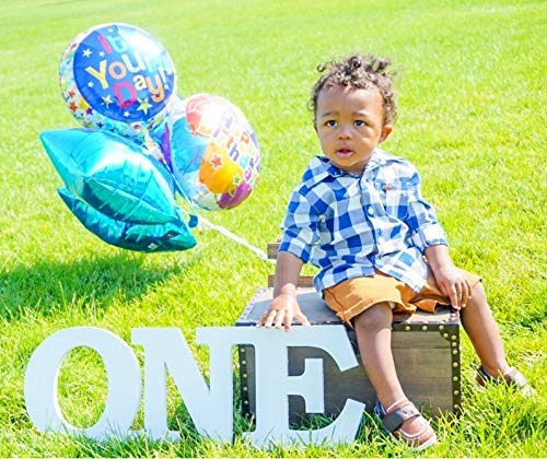 Freestanding Wooden Letters ONE Standing Wooden Sign Photo Prop for First Birthday Nursery Shelf Decoration Wooden ONE Baby Photo Prop Wood Plaque First Birthday Sign (1 Photo Prop)