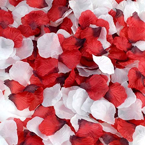 (obmwang 2000 PCS Red and 2000 PCS White Dark Silk Rose Petals Wedding Flower Decoration (2000pcs red+2000pcs)