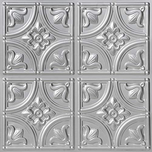 From Plain To Beautiful In Hours 148sr-24x24 Ceiling Tile, Silver ()