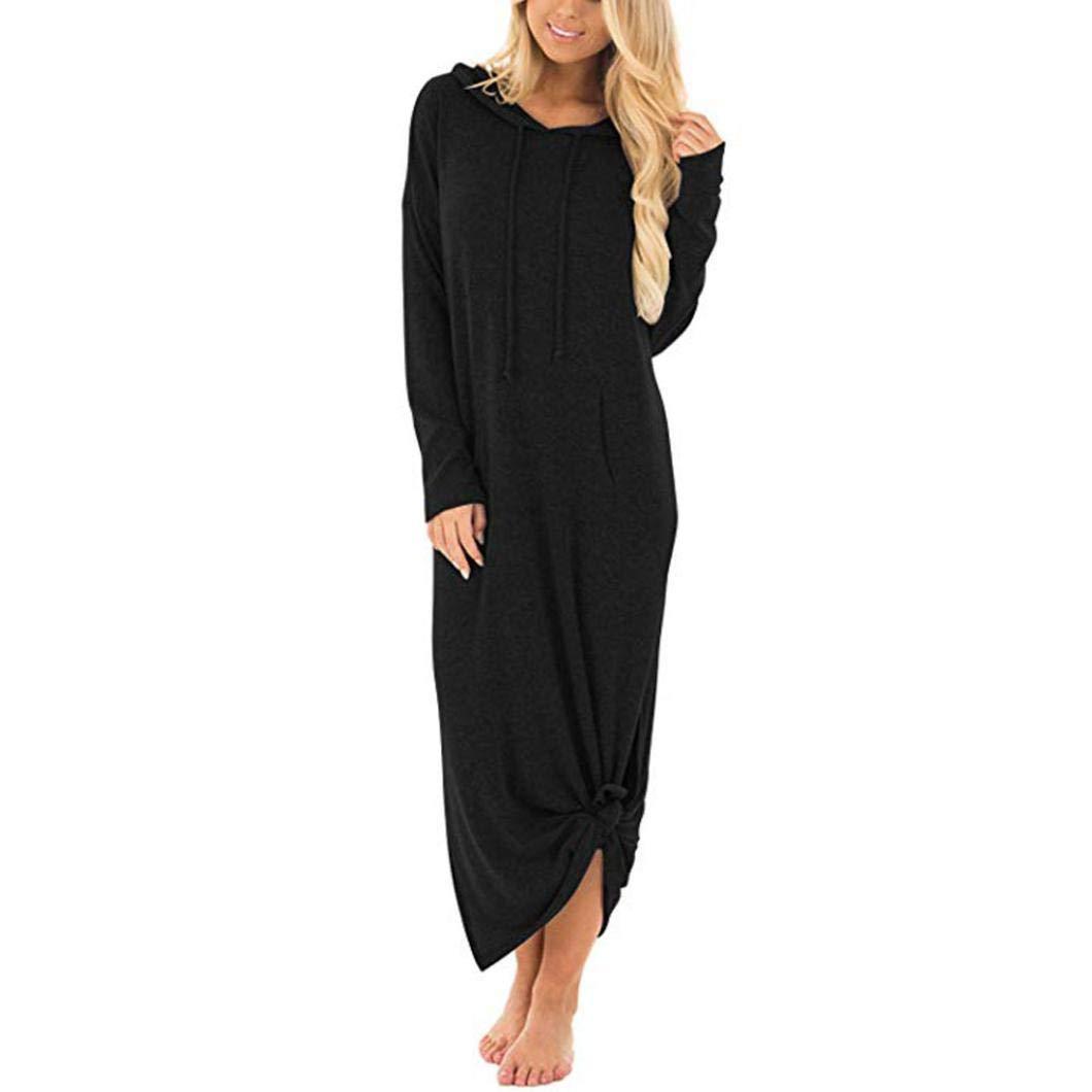 KFSO Womens Casual Pockets Dresses Long Sleeve Split Hooded Solid Long Dress (Black, S)