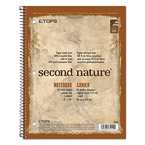 1/2 College Rule 80 Sheets - TOPS 74111 Second Nature Subject Wirebound Notebook, 11 x 8 1/2, White, 80 Sheets