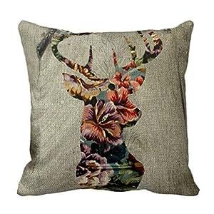 Flowers deer head, Throw Pillow Case Shell Decorative Pillowcase 18 X 18
