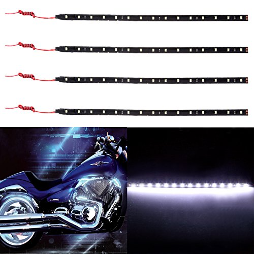 cciyu 4 pack 11.8inch 15-SMD White Motorcycles LED Strip Light Decoration Light Bar (Best Tyres For Honda Blackbird)