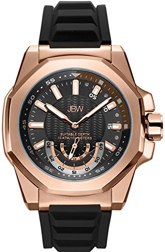 JBW Men's Delmare .04 ctw Diamond 18K Rose Gold-Plated Rubber Strap Watch J6359B
