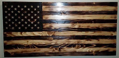 (Rustic Burned Wood American Flag)