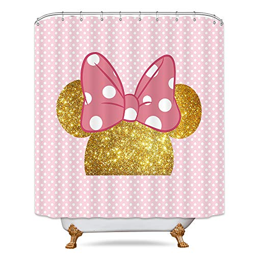 Polka Dot Pink Mouse Shower Curtain Set Kids Cartoon Cute Bow Gold Mouse Head Bathroom Decor Fabric Panel Polyester 72x72 Inch with 12-Pack Plastic Shower Hooks