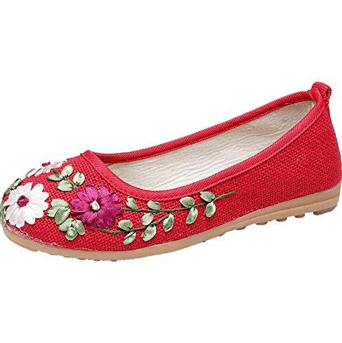 Rojo Madre del de Zapatos Redondos la Mujer Zapatos de de Planos de Tamaño Zapatos Grueso 40 Púrpura Blanco 35 Danza la Paño la Color 37 Suave Bomba Tamaño y Rojo la Tela zzCRn8