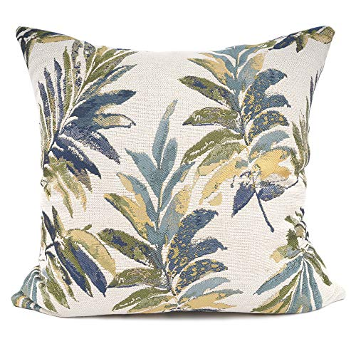 YOUR SMILE Classical Embroidery Jacquard Green Leaf Pattern Square Decorative Throw Pillow Case Cushion Cover 18 x 18 - Inch 18 Smile Face