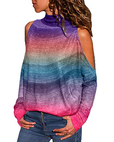 YOINS Women Cold Shoulder Turtle Neck Tops Long Sleeve Geometric Stripe Casual Loose Blouse Tee Pullover