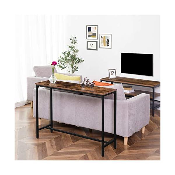 HOOBRO Table Console avec Barre de Support Réglable, Bout de Canapé, Table d'Entrée, Bureau Informatique, Cadre Solide…