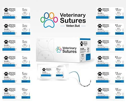 Veterinary Sutures Vet-Lene Polypropylene 0, 3/8 Round 40mm Reverse Cutting Needle