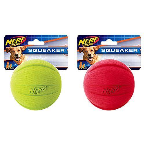 Nerf Dog Squeak Rubbber Ball Dog Toy, Medium/Large, (2-Pack), Green and Red
