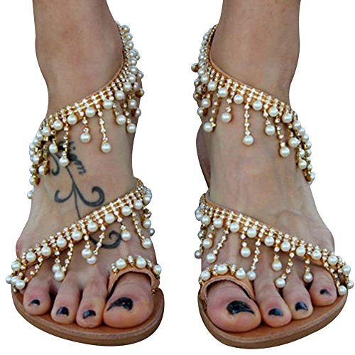 Athlefit Women's Beaded Flat Sandals Pearl Beach Toe Ring Casual Bohemia Summer Sandals Size 8 Gold