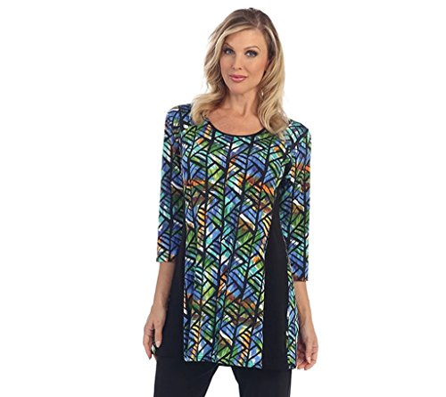 Caribe Women's Stained Glass Black Side Trim Tunic Plus Size (2X)