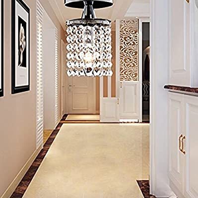 Cristalite® Chandlier - Modern Hanging Crystal Ceiling Hallway Aisle Porch Light with Solid Polished Metal Base for Front Door Entry Bedroom Bathroom Dining Room Home