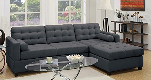 Poundex Bobkona Hardin Polyfabric Left or Right Hand Reversible Sectional Sofa, Slate Black - 2-piece sectional sofa set with 2 roll pillows Wooden frame covered in soft linen-like polyfabric Designer carefully selected polyfabric for wear ability, seam strength, beauty and comfort - sofas-couches, living-room-furniture, living-room - 51vR47uEiZL -