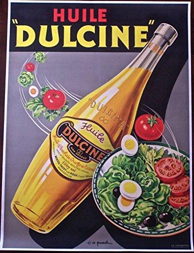 HUILE DULCINE -ORIGINAL FRENCH FOOD WINE ADVERTISING LB POSTER- BEAUTIFUL ART