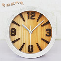 CLG-FLY Wood Alarm Clock 3D stereo wood alarm clock fashion creative simple table clock,White wood,good gift for your children