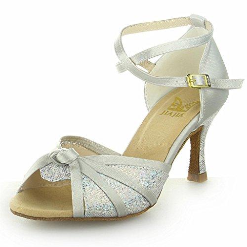 Jia Jia Y2059 Damen Sandalen Ausgestelltes Heel Super-Satin mit Pailletten Latein Tanzschuhe Silber
