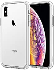 JETech Case for iPhone Xs and iPhone X, Shock-Absorption Bumper Cover, Anti-Scratch Clear Back, HD Clear