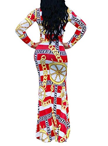 Dress Coolred Printing Red Neck Unbalanced Women Bodycon Maxi Crew v6CHp