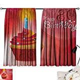 Jinguizi 80th Birthday Curtain Door Panel Birthday Party Cupcake with a Candle and Beaming Sun Image Print Bedroom Darkening Curtains Orange Red and White W55 x L39