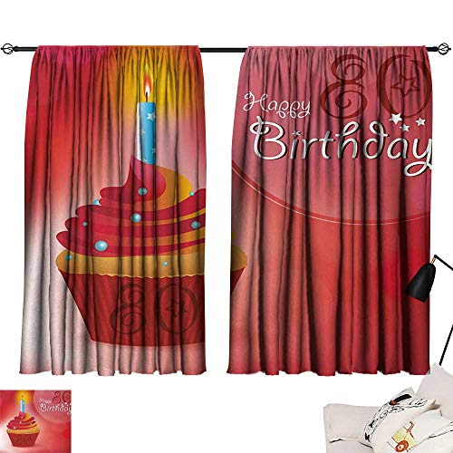 Jinguizi 80th Birthday Curtain Door Panel Birthday Party Cupcake with a Candle and Beaming Sun Image Print Bedroom Darkening Curtains Orange Red and White W55 x L39 by Jinguizi (Image #6)