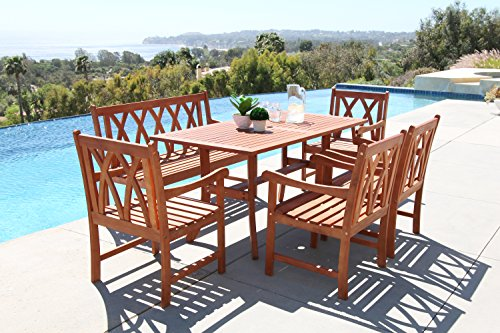 VIFAH Malibu 6 Piece Hardwood Arched Pattern Slat Back Dining Set with Rectangle Table, 4' Bench and 4 Arm (Arched Slat)